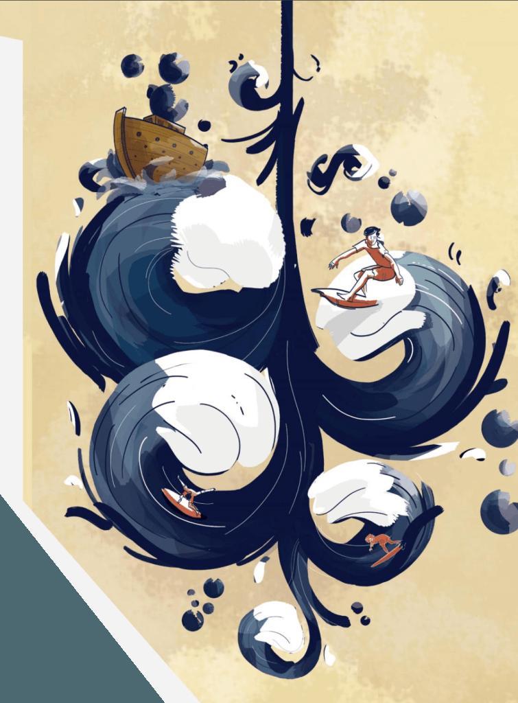 Surf sul diluvio, un racconto di Nicola Casucci tratto da StreetBook Magazine #9 Illustrato da Paola Rosi DUBHE Three Faces