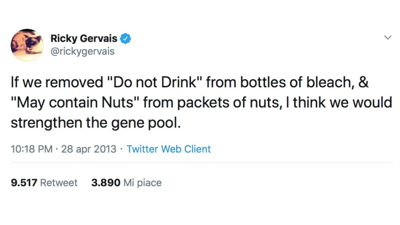 Ricky Gervais: anatomia di una battuta. Un articolo di B. Bendinelli    Threevial Pursuit